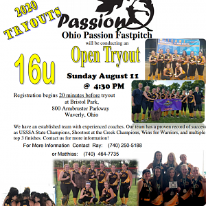Ohio Passion tryouts